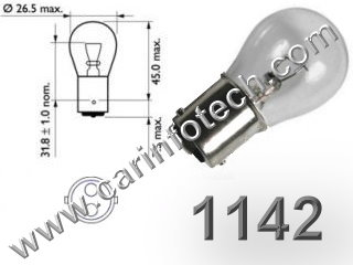 #1142 MINIATURE BULB BA15D BASE, 12.8 Volt, S8 Double Contact (DC) Bayonet (Ba15d) Base, #1142 Miniature Bulb