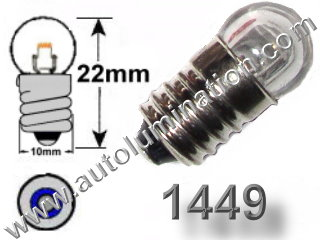 #1449 MINIATURE BULB E10 BASE - 14.0 Volt 0.20 Amp G-31/2, Miniature Screw Base, 250 Hour 52, 258, 428, 432, 1446, 1447