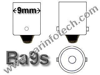 3886x Ba9s Miniature Bayonet  bulb base dimensions