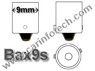 #64132 6W/13.5V HALOGEN BULB BAX9S BASE - 13.5 Volt 6 Watt 0.44 Amp T-3 1/4 Halogen Bulb Miniature Bayonet (BAX9s) Base, C-2R Filament Design,
