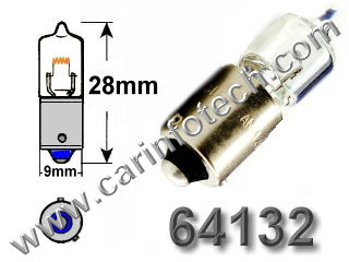  #64132 16W/13.5V HALOGEN BULB BAX9S BASE - 13.5 Volt 6 Watt 0.44 Amp T-3 1/4 Halogen Bulb Miniature Bayonet (BAX9s) Base, C-2R Filament Design, 200 Average Rated Hours.  
