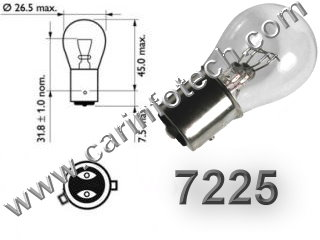 "#7225 MINIATURE BULB BAZ15D BASE - 13.5 Volt 1.852/0.37 Amp S-8 BAZ15D Base, C-6 Filament Design 35 MSCP. 150/1,500  Average Rated Hours, 2.0"" Maximum Overall Length. #7225"
