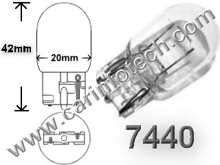 #7440, MINIATURE BULB GLASS WEDGE BASE, 13.5 Volt, 1.85 Amps, T-6 Wedge Base, 35/3 MSCP, Overall Length, W21W, WY21W, 7441