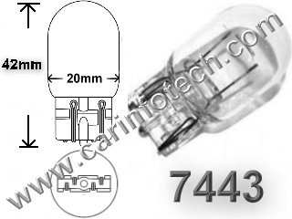 #7443, GLASS WEDGE BASE,13.5 Volt, T-6 Wedge Base, C-6 Filament Design, Overall Length #7443 7444 W215W