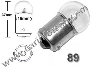 #89, MINIATURE BULB BA15S BASE, 13 Volt,G6 Single Contact Bayonet (Ba15S) Base, 6.0 MSCP C-6 Filament