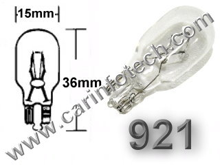 "#921 MINIATURE BULB GLASS WEDGE BASE - 12.8 Volt 1.40 Amp T5 Glass Wedge Base, 21.0 MSCP C-2R Filament Design. 1,000 Average Rated Hours, 1.49"" Maximum Overall Length."