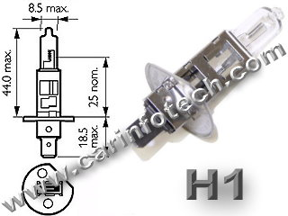 H1 12V 55W AUTOMOTIVE HALOGEN P14.5S BASE - 12.0 Volt 55 Watt 4.58 Amp Automotive Halogen C-8 Filament, P14.5S Base. 225 Average Rated Hours, 2.65&quot; 