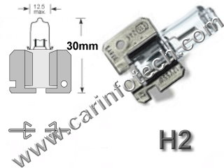H1 12V 55W AUTOMOTIVE HALOGEN P14.5S BASE - 12.0 Volt 55 Watt 4.58 Amp Automotive Halogen C-8 Filament, P14.5S Base. 225 Average Rated Hours, 2.65""